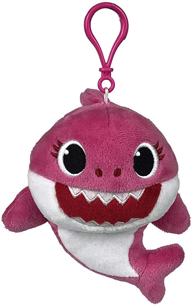 Pinkfong Baby Shark Plush Keychain Mommy Shark - Baby Shark Plush Clip On Keychain from Hit Song - Official Baby Shark Stuffed Animal Clip for Bags, Lunch Boxes, Backpacks