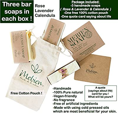 Mebien Organic Vegan Soap Bar - Homemade Natural Luxury handmade gift set for women body hand face bath Rose Lavender Calendula 3x3.5 oz by MERO DIS TICARET MERMER MADENCILIK SAN. VE TIC. LTD STI