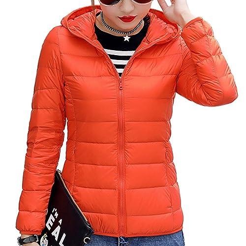 Mujer Encapuchado Corto Ligero Abajo chaqueta Slim Fit Cesar Calentar Abrigo de invierno