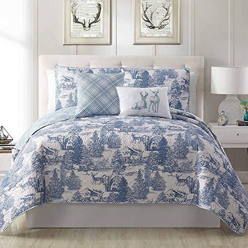 5 Pc Farmhouse Style Light Blue Quilt, Christmas Season Holiday Pattern Deer Roaming Aspen Wild Bedding Set Queen, Elegant Diagonal Plaid Playful Toile Design Reversible Bed Set Decor Pillows Included ()