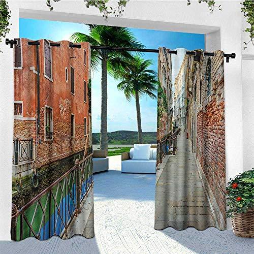 (leinuoyi Venice, Outdoor Curtain Kit, Empty Idyllic Streets of Venezia Travel Destination Romantic Vacation Old Buildings, Fabric W72 x L96 Inch Multicolor)