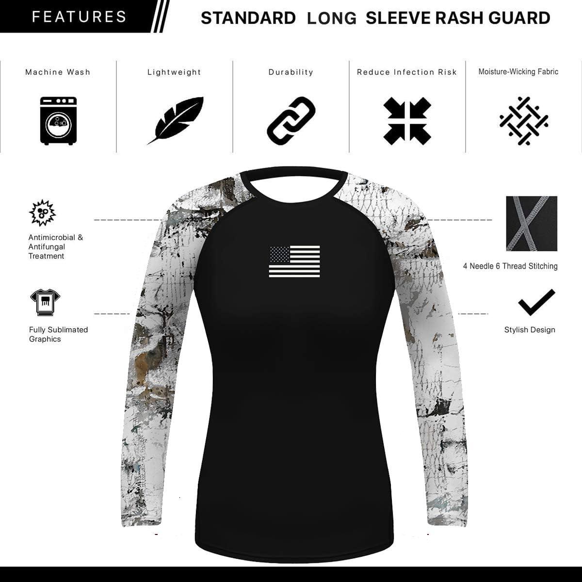 Long Sleeve Rash Guard Swim Shirts Athletic Tops S-XXL O2TEE Womens Basic Skins UPF 50