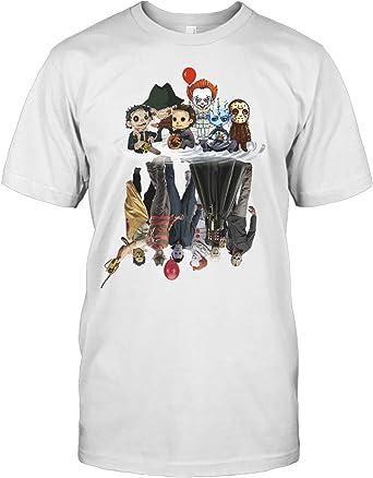 DesDirect Store - Camiseta de Halloween para Hombre, diseño de película de Terror - Blanco - Small: Amazon.es: Ropa y accesorios