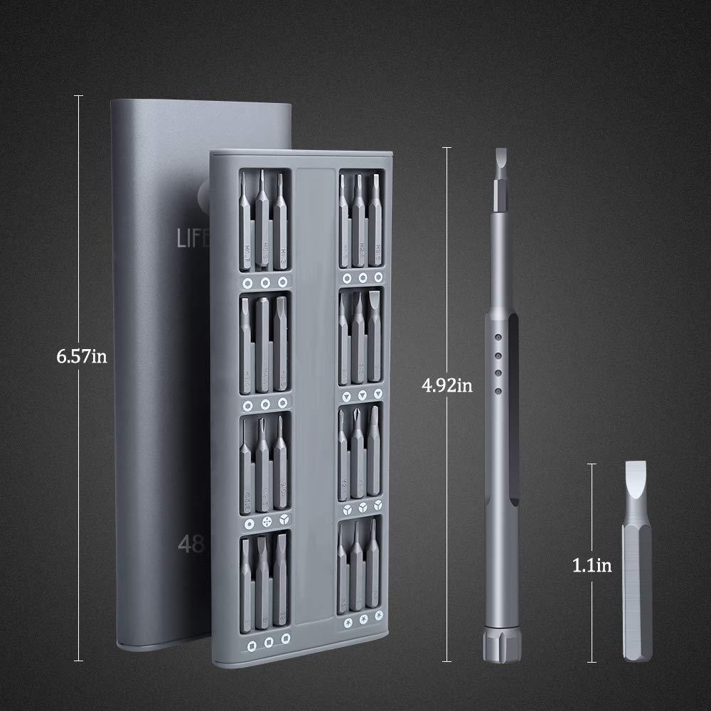 E/·Durable 48 en 1 Tournevis de Precision Professionnels Magnetic Aluminum Mobile Repair pour iPhone PC iPad macbook pro,xiaomi appareils photo montres jouets /électroniques