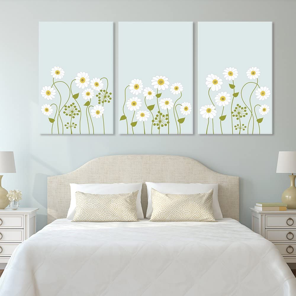 Majestic Picture, Created By a Professional Artist, 3 Panel Small White Flowers on Light Green Background x 3 Panels