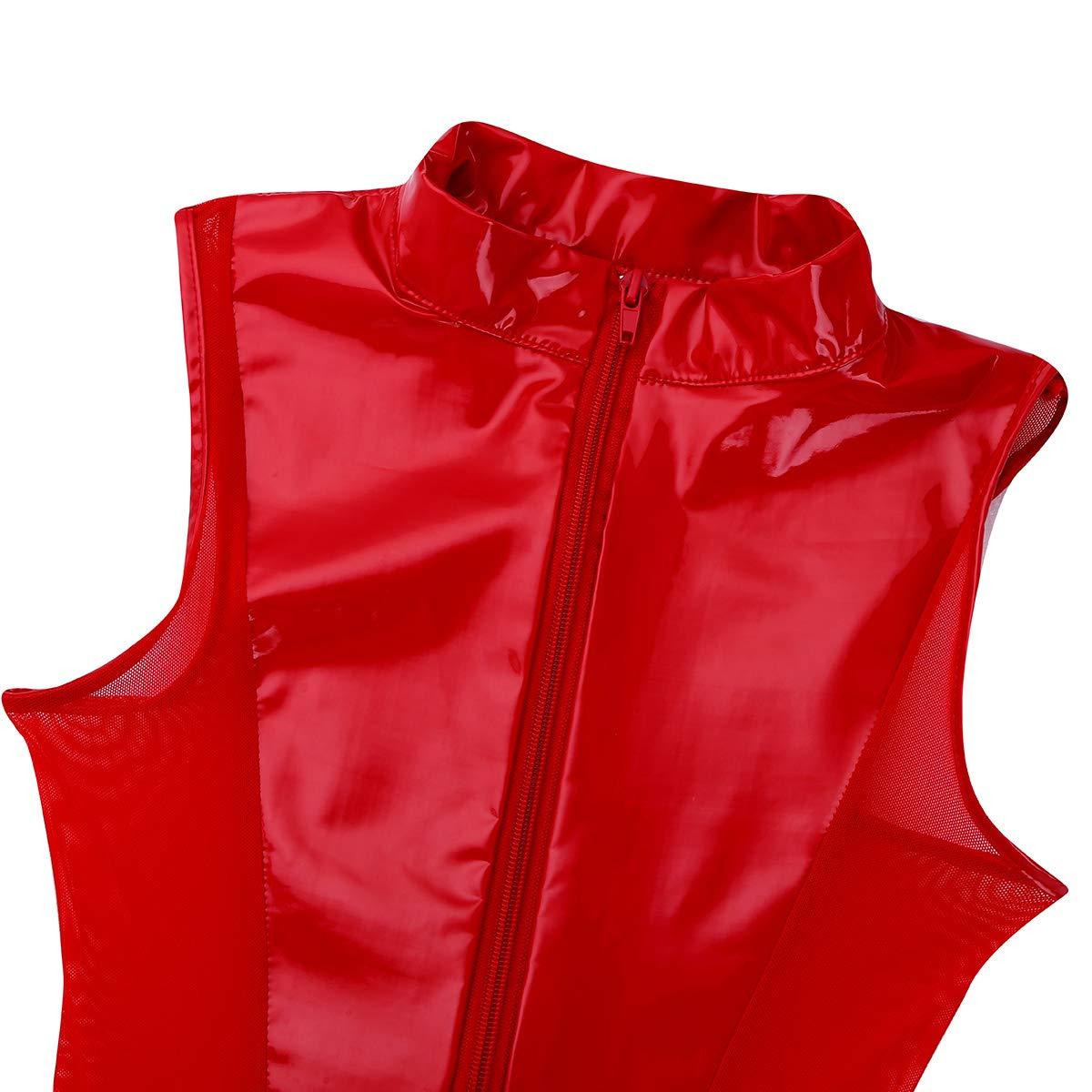 Agoky Womens Metallic Leather Sleeveless Bodysuit Zipper High Cut Thongs Leotard Clubwear FXD10062281-10059101-UK