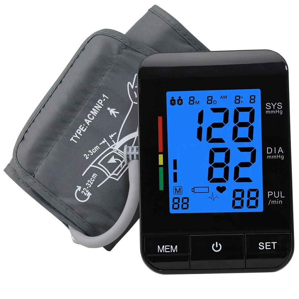 Upper Arm Blood Pressure Monitor, FDA UDI Approved, XREXS Automatic Digital BP Monitor with Backlit, Adjustable Cuff Electronic Sphygmomanometer,90 Groups Memory,2 Users