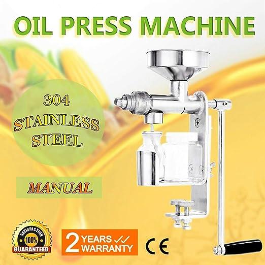 Extractor de aceite manual de alta definición, acero inoxidable, prensa de aceite de nueces y semillas de aceite, prensa doméstica para semillas de girasol de maní y otros cultivos de aceite: Amazon.es:
