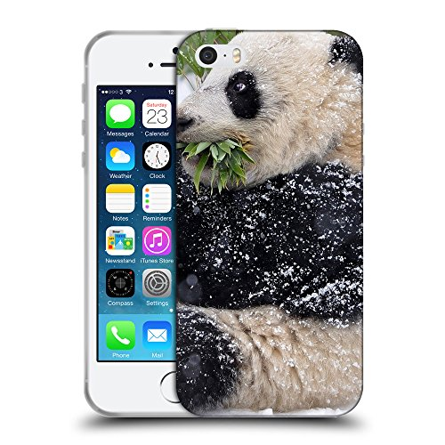 Just Phone Cases Coque de Protection TPU Silicone Case pour // V00004106 Petit ours panda adorable // Apple iPhone 5 5S 5G SE
