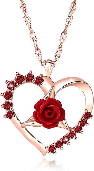 Collar De Rosas Collar De Corazón 3d Flor Amor Collar De Oro Rosa Colgante Collares Para Mujeres Niñas Joyería De Moda Con Caja De Regalo Para Día De Navidad Día De