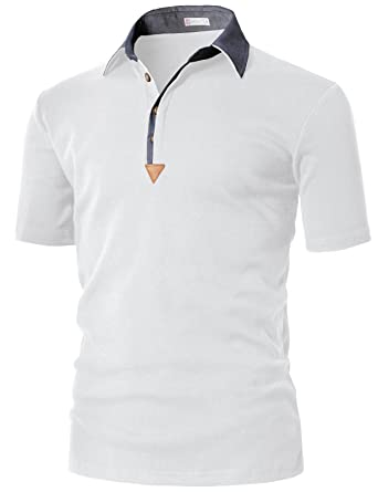 28587f24fc7d H2H Mens Moisture-wickingButton Down Color Effect Collar Polo Shirts White  US S Asia