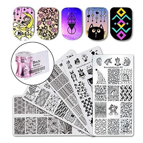 (BEAUTYBIGBANG Nail Stamping Plates Stamper Scraper Kit Sets - 5pcs Nail Art Stamp Templates Image Plate with 1 Stamper and 1 Scraper Nail Art Tools)