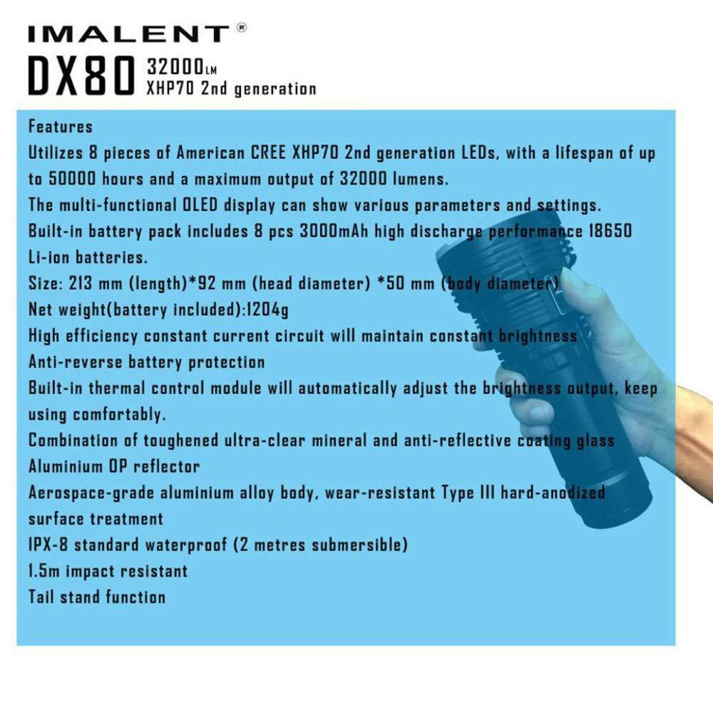 Siswong LED Taschenlampe Licht, IMALENT XHP70 DX80 XHP70 IMALENT LED Mächtigste Flut LED Seach Taschenlampe 10ccc4