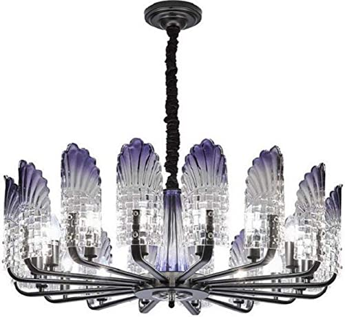 10 Heads Crystal Ceiling Light, Nordic Modern Peacock Feathers Glass Ceiling Chandelier, Creative Transparent Glass Lampshades, Trendy Living Room Lamps and Stylish Restaurant Villa Lights