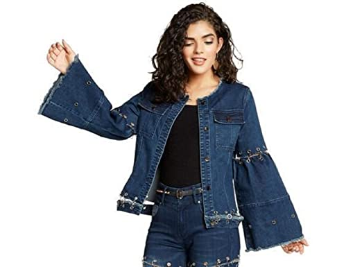 a164fd4ca Tesoro Moda Flare Sleeve Stretch Denim Jacket for Women, 24 inch at Amazon  Women's Coats Shop