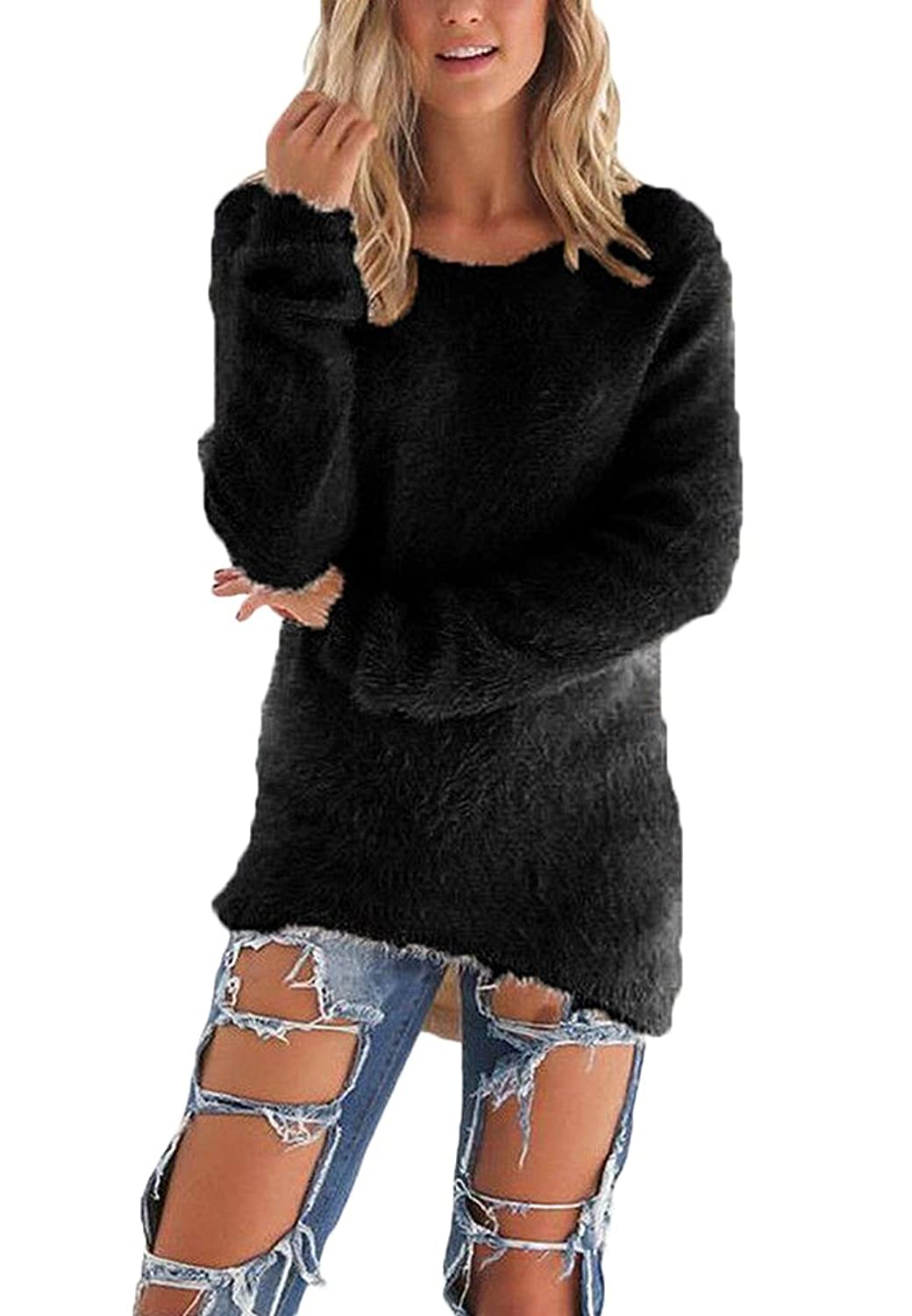 AIYUE® Pull Femme Chandails à Manches Longues Lâche Blouse Chaud Casual Col O Sweater Jumper Pullover Hauts Tops Tricots Automne hiver