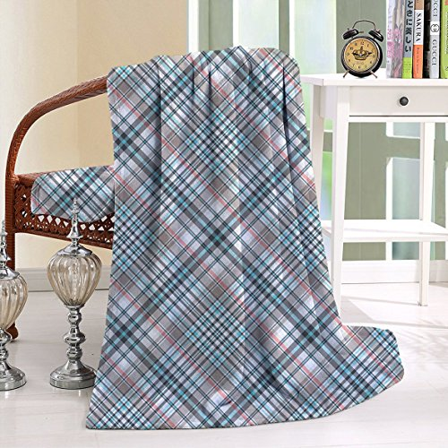 Ghillie Suit Child Costumes (HAIXIA Throw Blanket Checkered Traditional with Crosswise Dense Lines Plaid Inspired Grey Light Blue Pink)