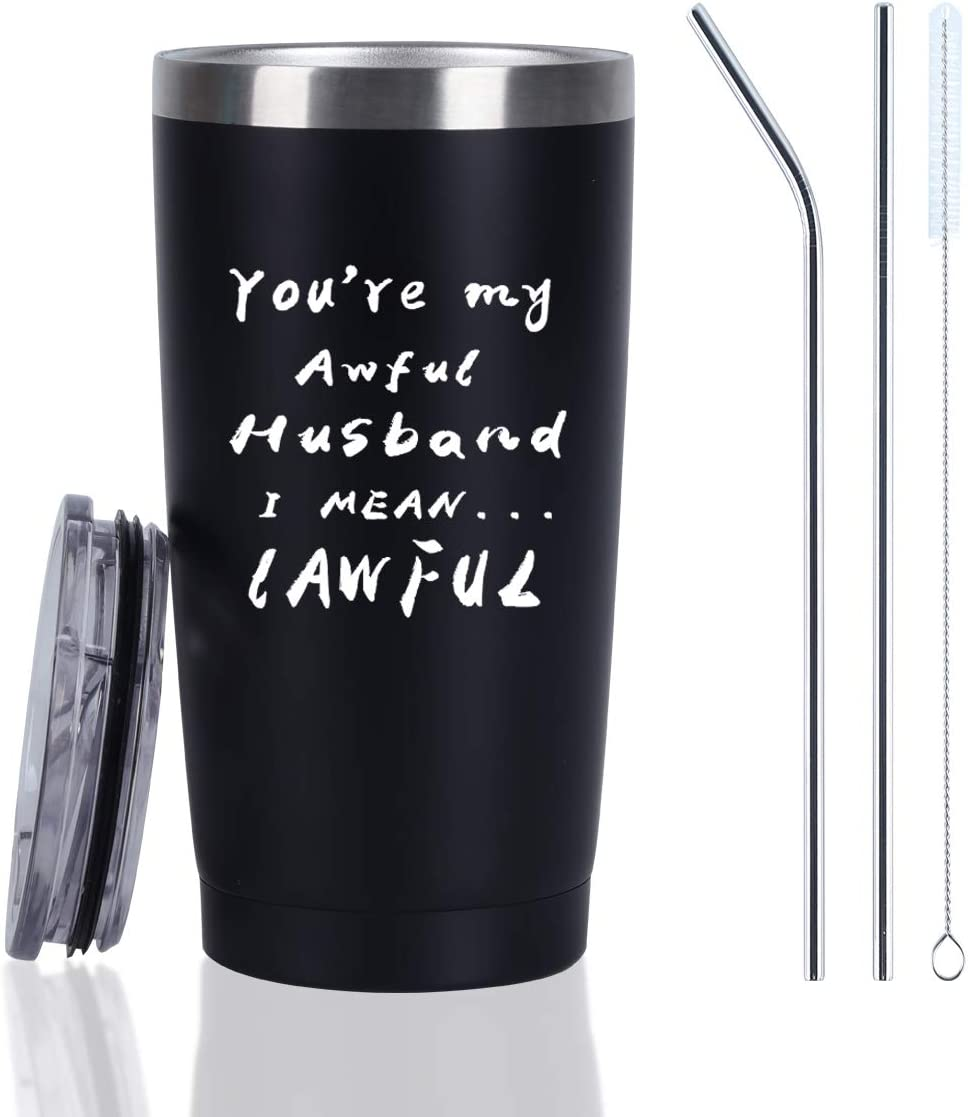 Valentine's Day Gift for Husband Travel Tumbler, Funny Lawful Husband Travel Tumbler, Funny Birthday Gifts for Husband Hubby him Men, 20 Oz Insulated Stainless Steel Travel Tumbler