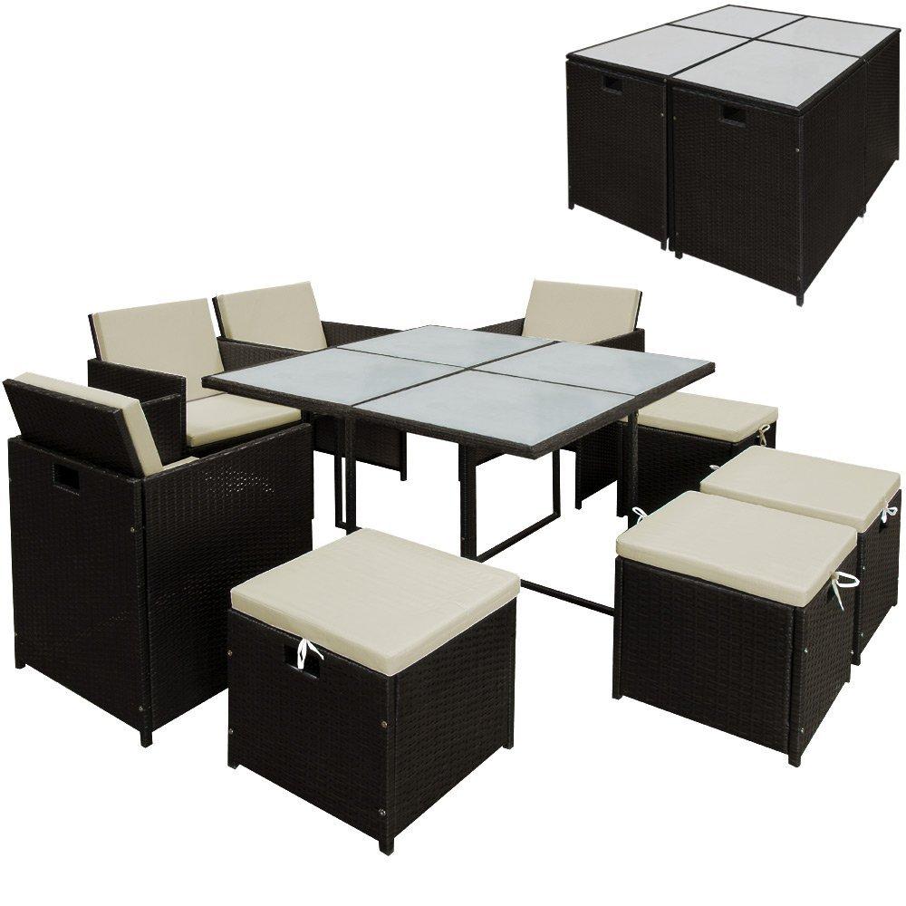 poly rattan sitzgruppe gartengarnitur essgruppe gartenm bel lounge cube 21 tlg online kaufen. Black Bedroom Furniture Sets. Home Design Ideas