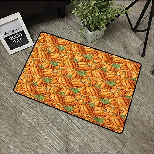 Bathroom mat W16 x L24 INCH Harvest,Pumpkins in a Vibrant Colored Pattern Natural Ingredients Vegetarian Organic Food, Orange Green Easy to Clean, no Deformation, no Fading Non-Slip Door Mat Carpet ()