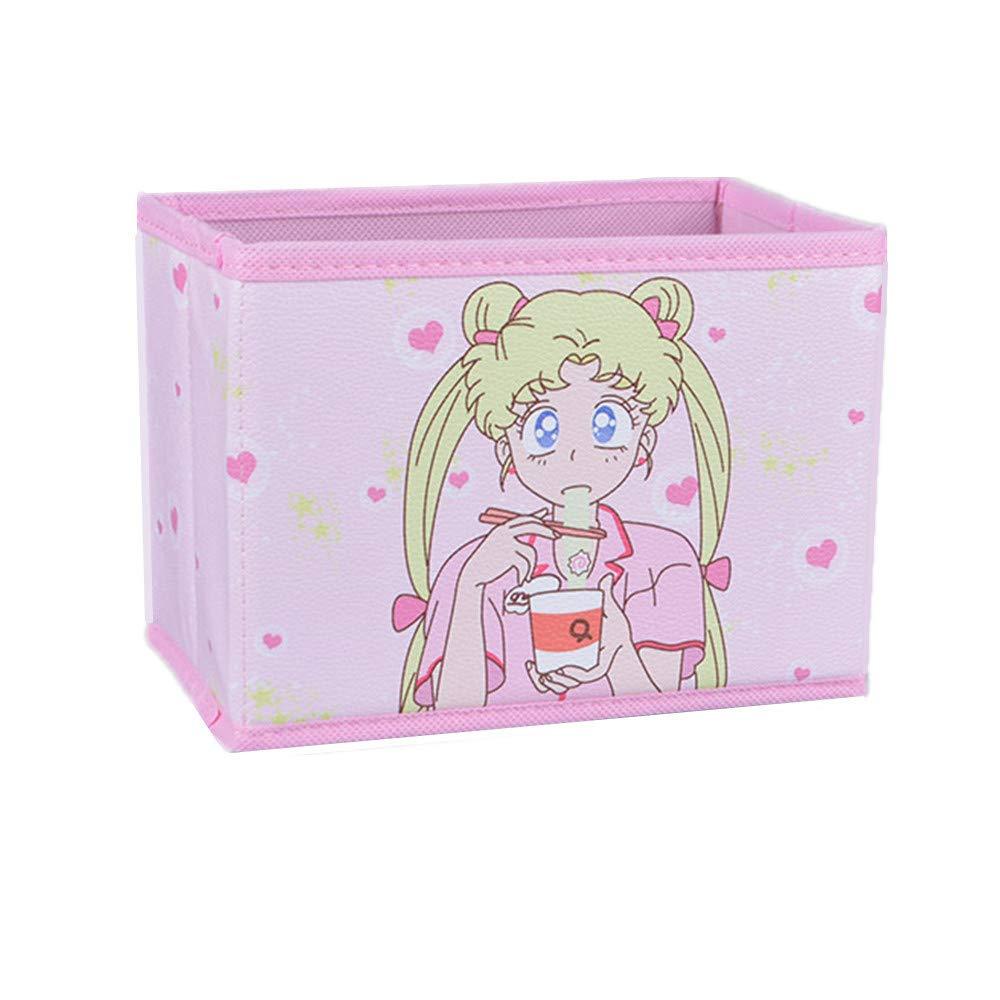 Cartoon Storage Box, Cute Japan Anime Sailor Moon Tsukino Usagi Model Figure Desktop Storage Box Case Makeup Holder Organizer for Kids Girls Gift (Eating)