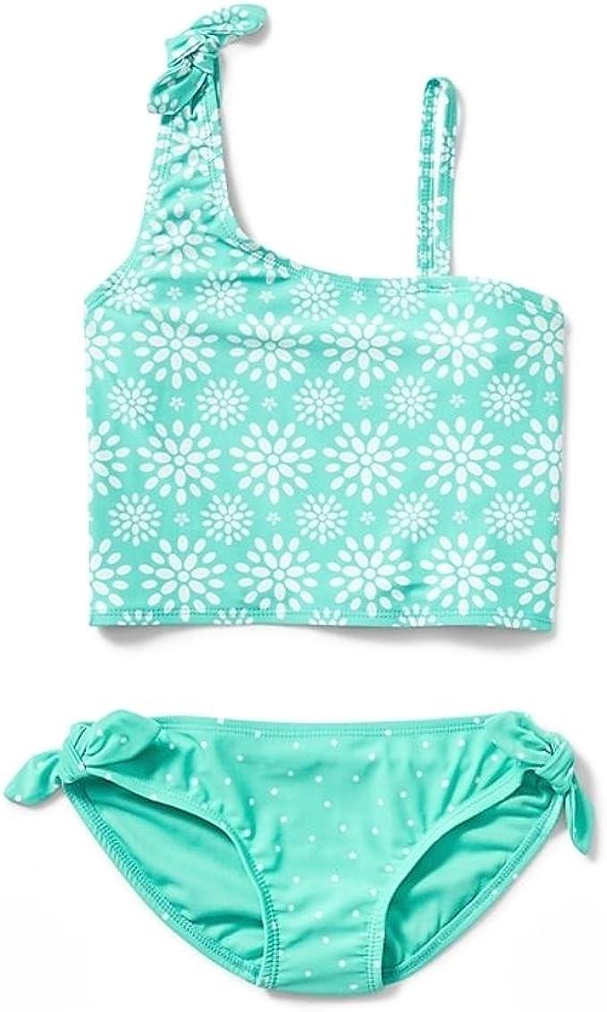 Women Two Piece Bathing Suit One Shoulder Scalloped Bikini Knit UV Tankini Swimsuit Swimwear