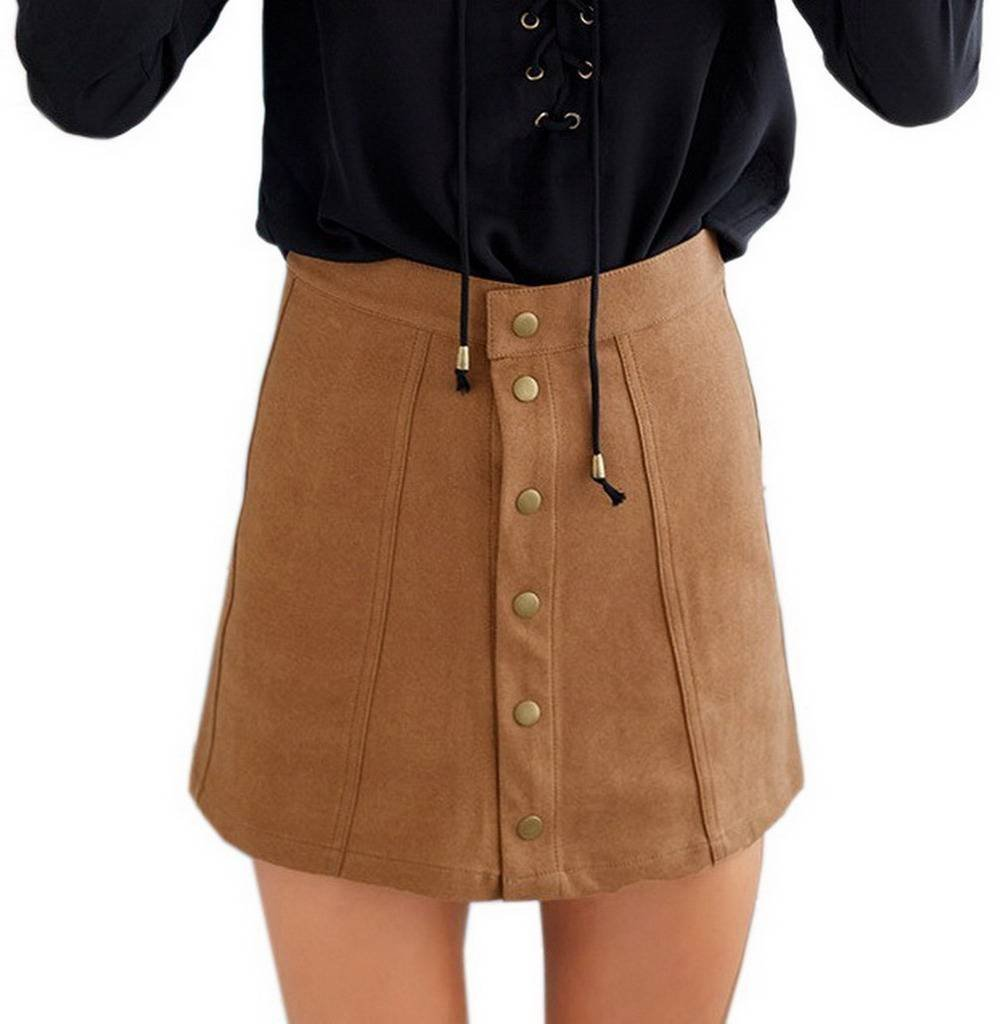 COMVIP Women's Solid Autumn Button Closure A-line Mini Short Skirts Khaki M