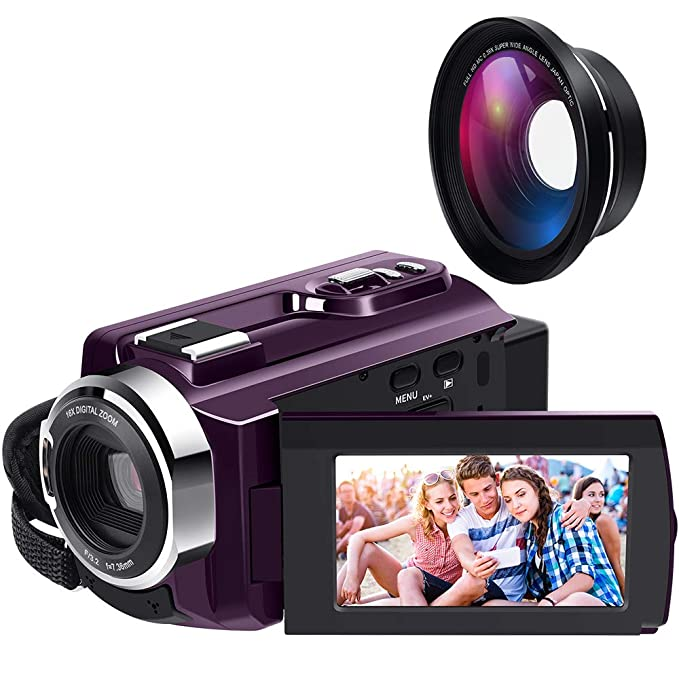 4K Camcorder Ultra HD WiFi with IR Night Vision and External Wide Angle Lens and Macro Lens,