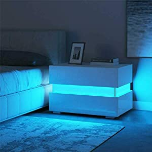 RGB LED Double Side Cabinet Bedside Table White,Sleek White High Gloss 2 Drawer Bedside Cabinet, Small Chest of Drawers, Modern No-Handle Design, Bedroom Furniture