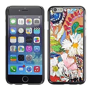 Cubierta de la caja de protección la piel dura para el Apple iPhone 6 (4.7) - daisy leaves spring nature painting