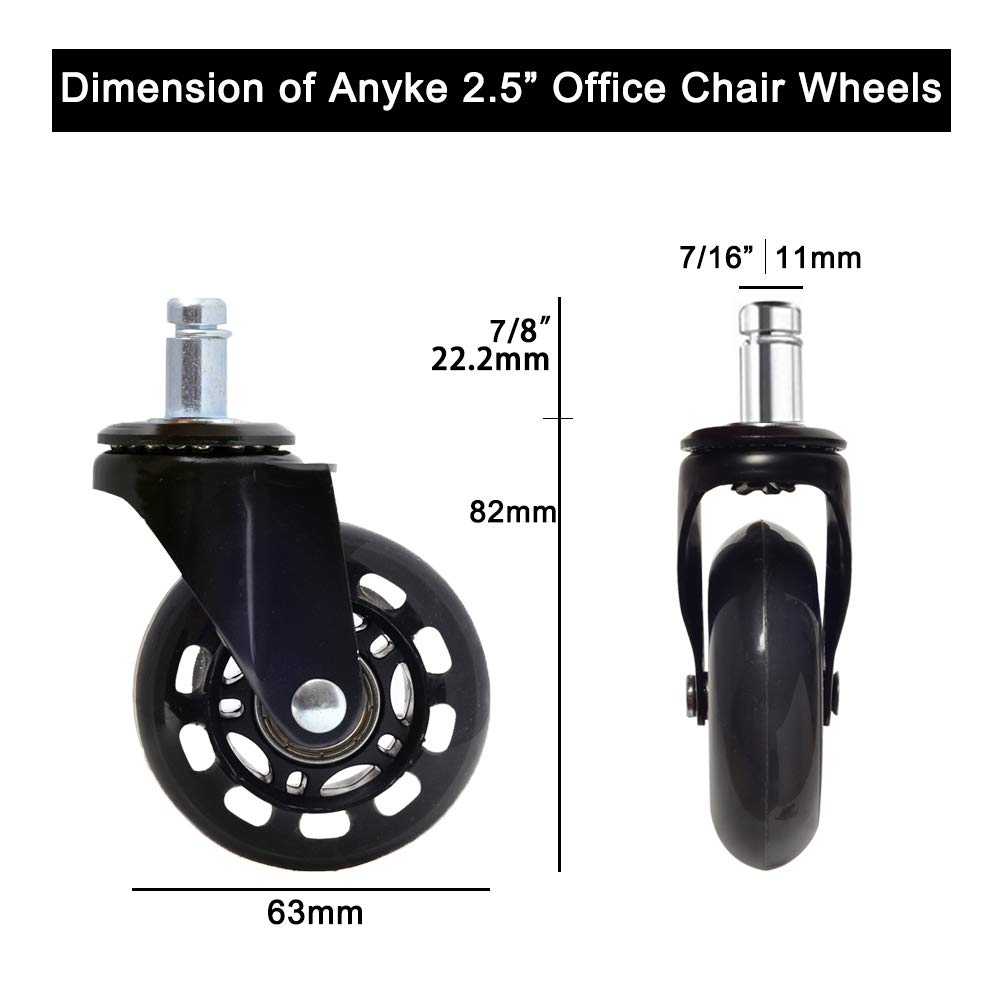 Anyke 2 Office Chair Wheels Swivel Heavy Duty Casters Replacement Rollerblade for Office Furniture 700LBS Set of 5 TPR 11x22mm