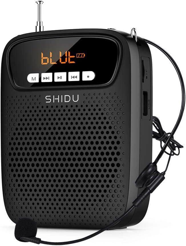 SHIDU amplificador de voz portatil micrófono, (15 W) con recargable batería de litio de 2500 mAh, profesional bluetooth voice amplifier Altavoz para profesor, guias turístico promotores ect