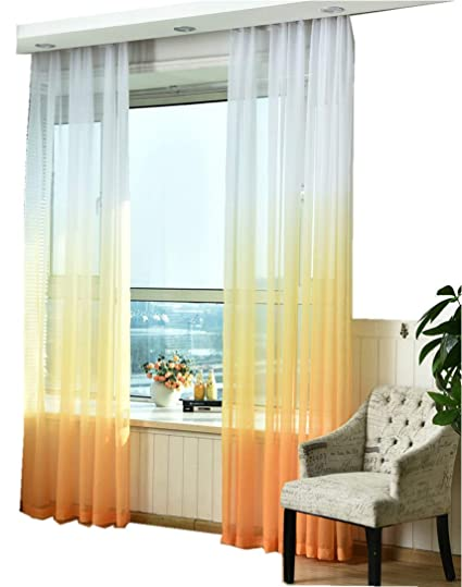 Amazon Com Tiyana Rod Pocket Top Novelty Gradient Sheer Curtains