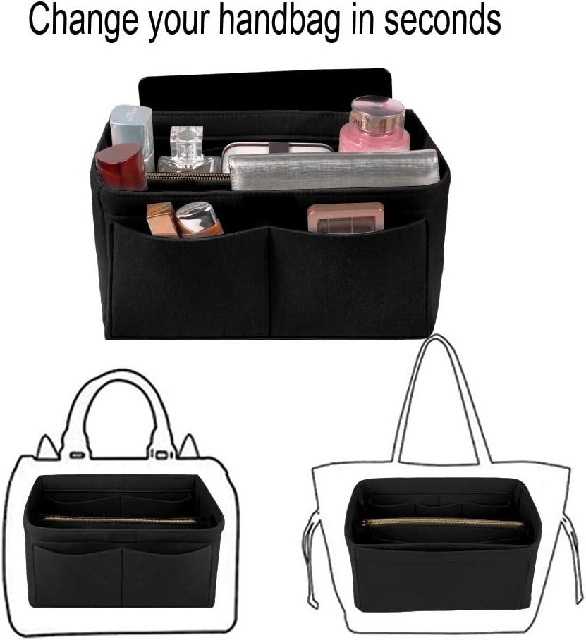 Ropch Organisateur de Sac /à Main en Feutre Beige, XL Sac de Rangement Int/érieur Bag in Bag pour Femmes avec Sac /à Fermeture /éclaire et Porte-cl/és