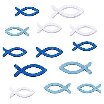 Lakind 108 Stück Deko Fische Holz Fisch Streudeko Fische Holzfische Deko Taufe Tischdeko Konfirmation Kommunion Dekoration Junge And Mädchenblau