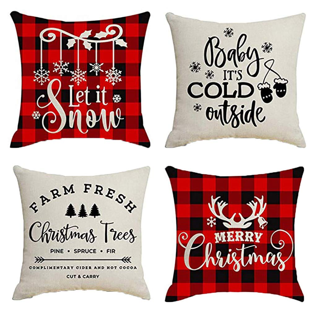 Clearance! Christmas Pillowcases, Christmas Deer Linen Cushion Cover Pillow Case Sofa Bed Home Decoration Festival Pillow Case Cushion Cover (4Pcs A)