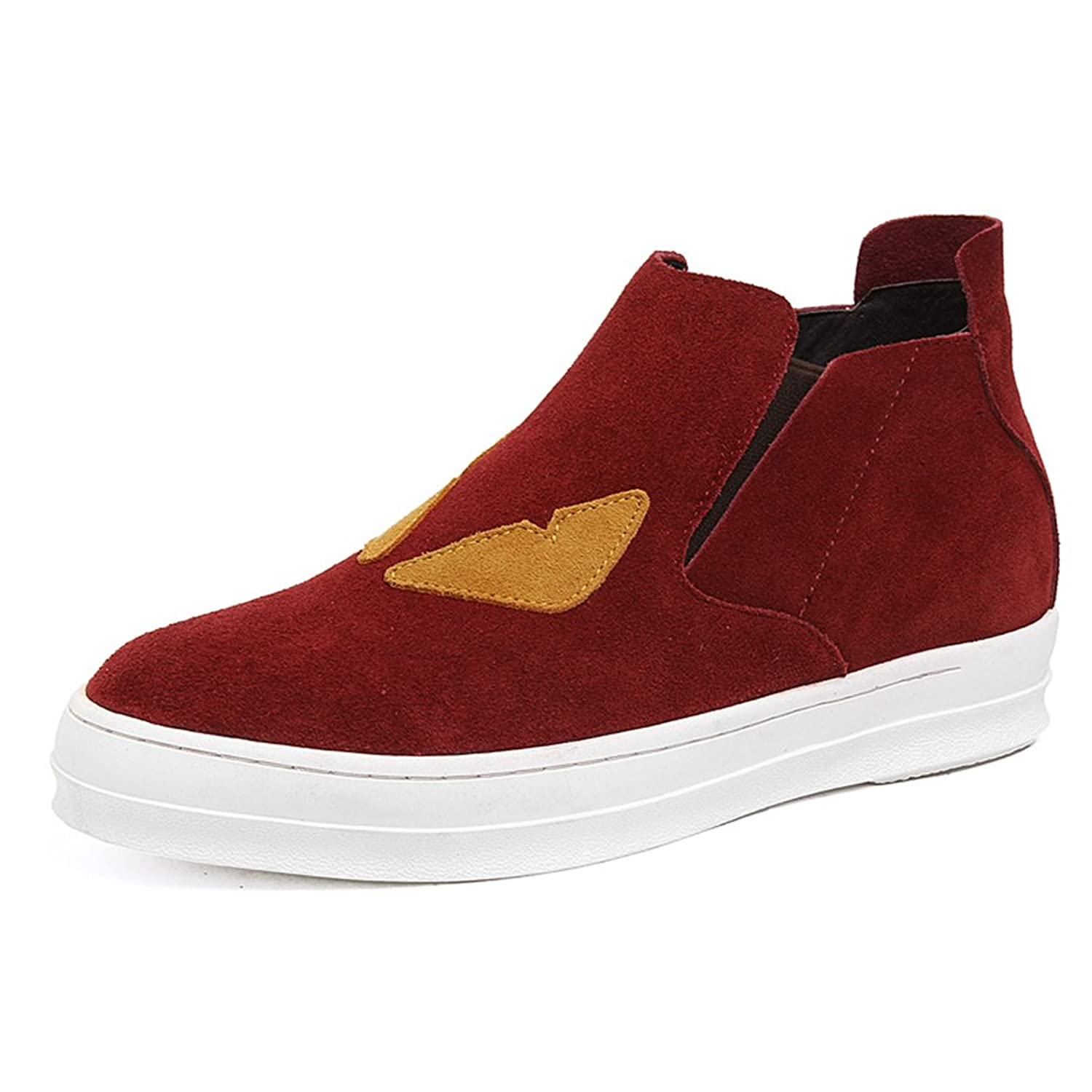 2.36 Inches Taller-Men's Height Increasing Elevator Suede Leather Fashion Boots Slip On