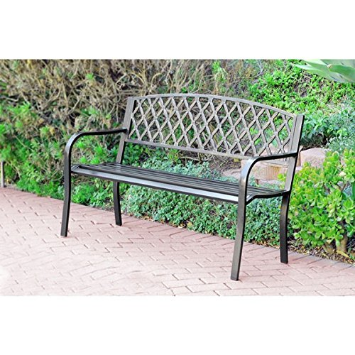 50-inch Crosswave Curved Back Steel Park Bench Perfect For Creating Outdoor Oasis – Assembly Required