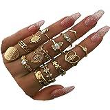 CSIYAN 6-16 PCS Knuckle Stacking Rings for Women Teen Girls,Boho Vintage Finger Rings Stackable Gold Silver Midi Rings…