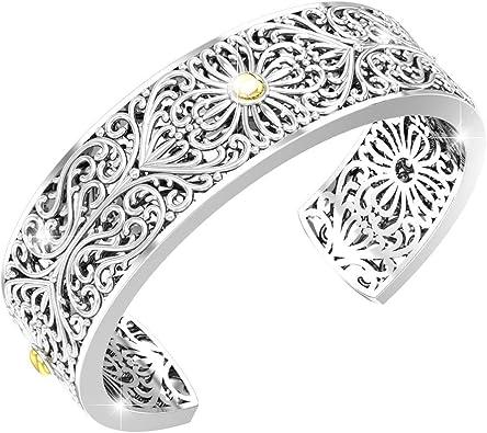 Great Quality 925 Sterling Silver File Pattern Bohemian Cuff Bracelet Open woman