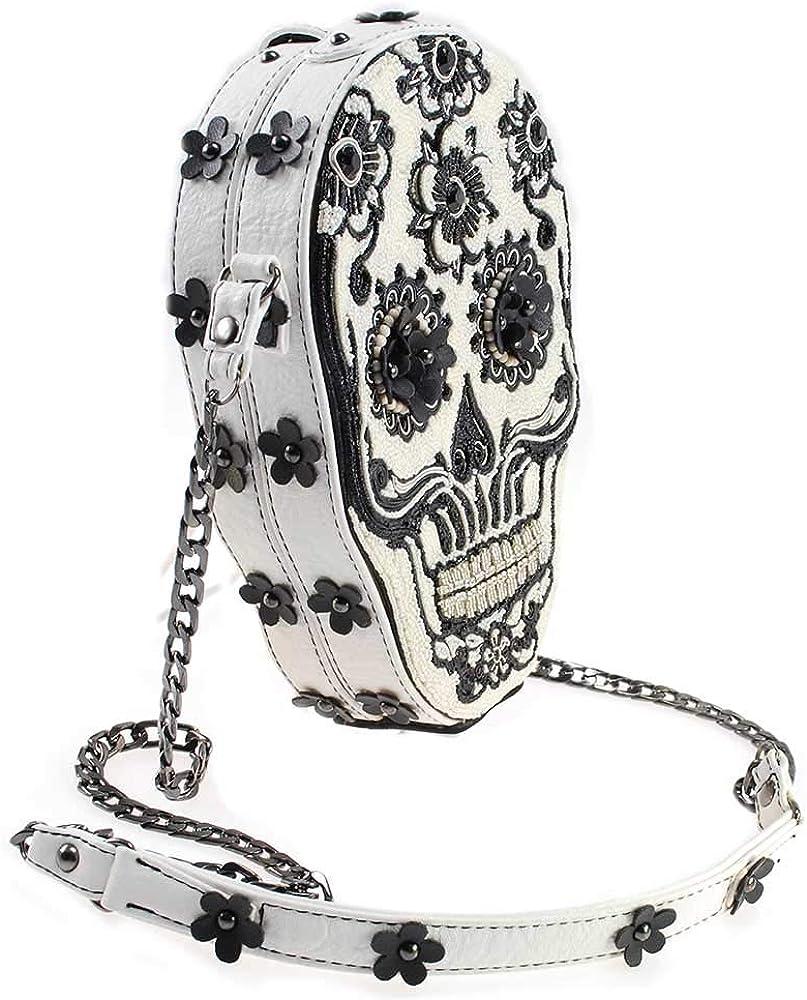 Mary Frances Bones About It Embellished Skull Crossbody Handbag Blackwhite BAG 18-401