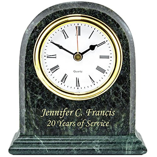 Personalized Genuine Marble Arch Desk Shelf Clock Gold Colorfill Etching Table Retirement Clock Gift, Business Executive Recognition Service Award Wedding Anniversary Birthday Graduation ()