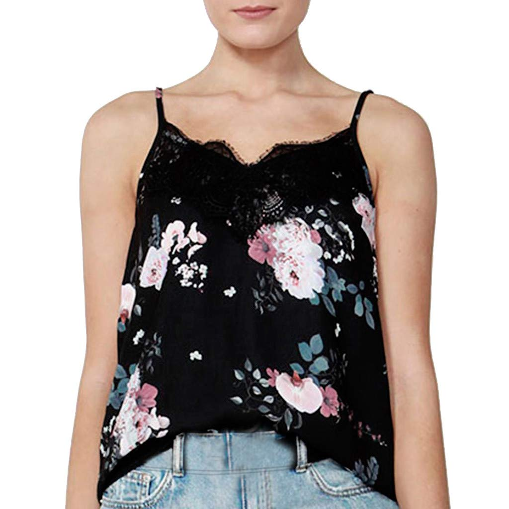 IAMUP Fashion Women Top Tee Spring V-Neck Lace Floral Printed Sleeveless Camis Vest Tank Top Tee Black
