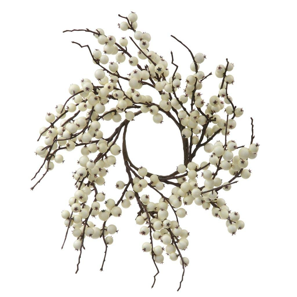 Vickerman Indoor/Outdoor Berry Wreath, 18-Inch, White