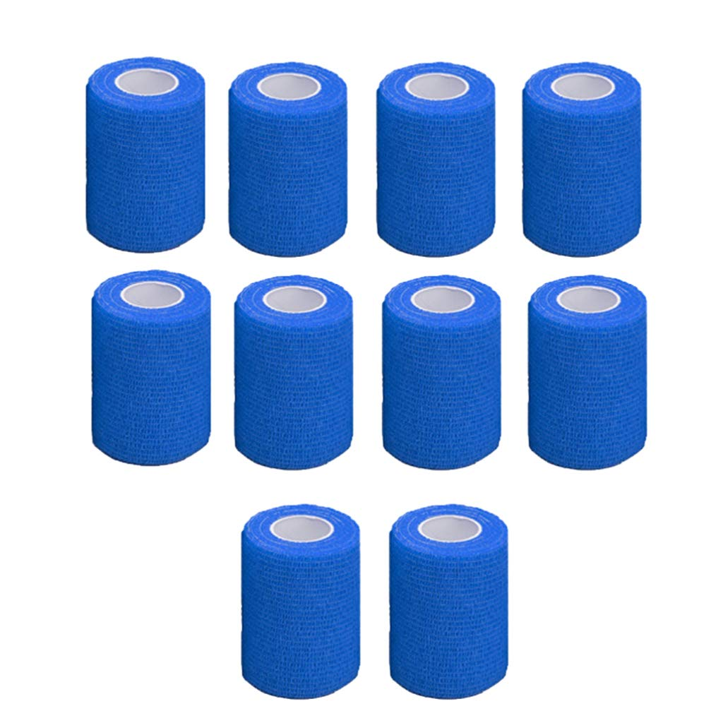LIOOBO 10 Roll Self Adhesive Bandage Rolls Elastic Self Adherent Tape First Aid Wrap Bandages for Wrist and Ankle Sprains Swelling Yellow