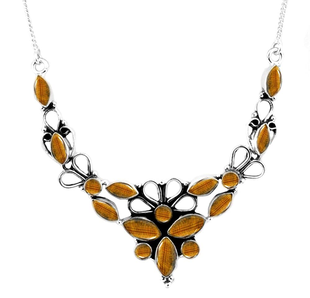 11.10ctw Genuine Tiger Eye /& 925 Silver Plated Necklace