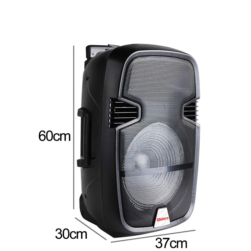 Shinco 12-inch Portable Loudspeaker DJ Karaoke Machine Battery Powered PA Speaker System with LED Light, Microphone