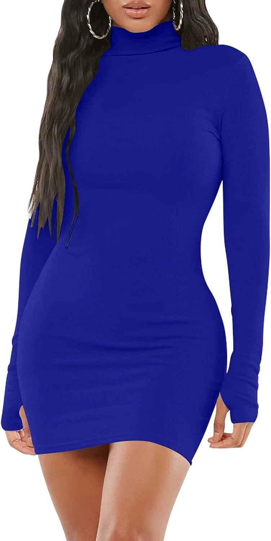 Mizoci Women's Sexy Bodycon Mini Club Dresses Basic Long Sleeve Turtleneck Dress