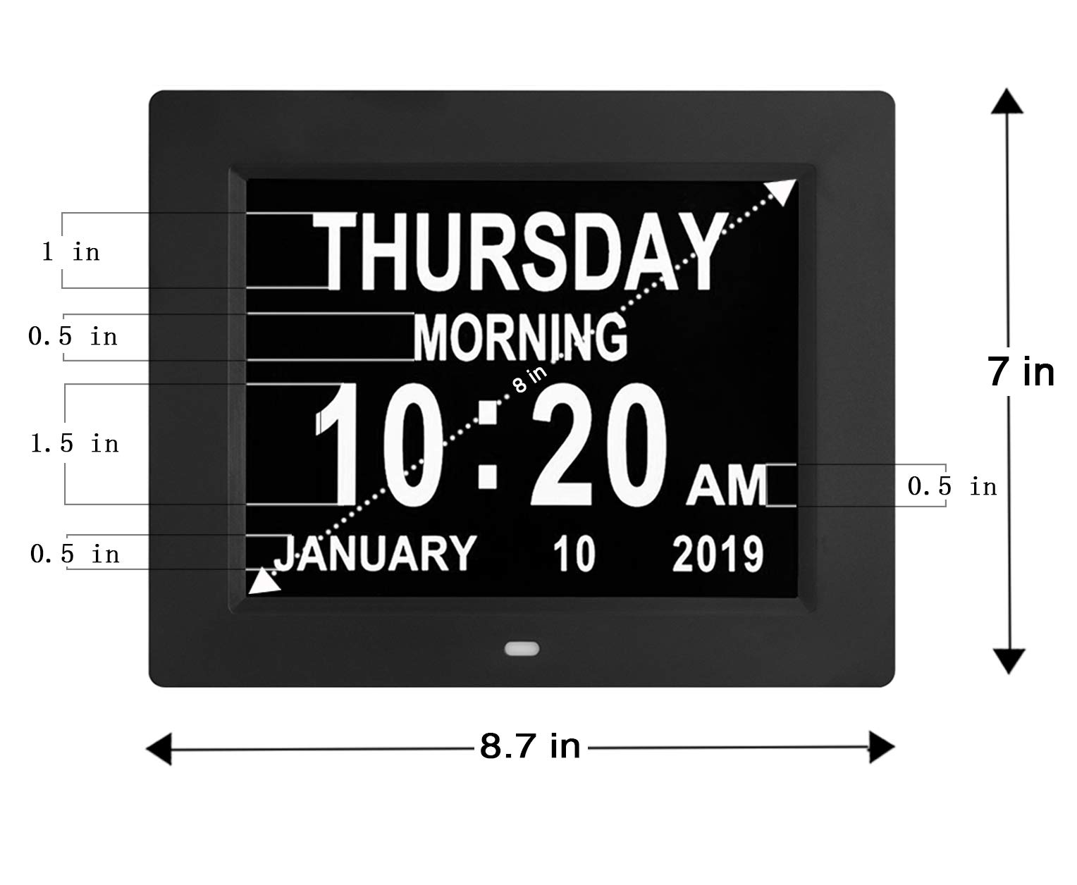 Digital Calendar Day Clocks Extra Large Non-Abbreviated Day&Month.Perfect for Seniors + Impaired Vision Dementia (Black,8-inch) by TMC (Image #4)