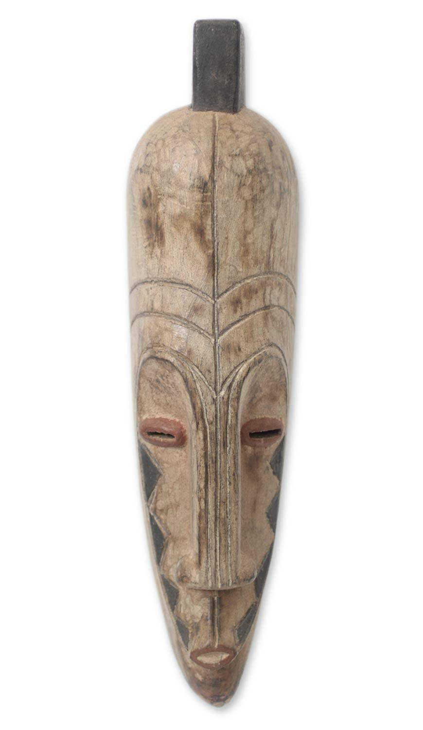 NOVICA Decorative Large Sese Wood Wall Mask, Brown, Dance'